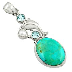 18.17cts blue arizona mohave turquoise topaz 925 silver dolphin pendant r5123