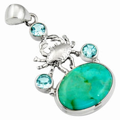 925 silver 15.76cts blue arizona mohave turquoise oval topaz crab pendant r5124
