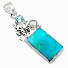 15.16cts blue arizona mohave turquoise topaz 925 silver scorpion pendant r5127