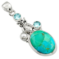 925 silver 15.97cts blue arizona mohave turquoise topaz pearl owl pendant r5128