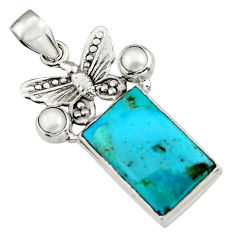 15.16cts blue arizona mohave turquoise pearl 925 silver butterfly pendant r5129