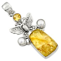 925 silver 16.93cts natural golden tourmaline rutile butterfly pendant r5132