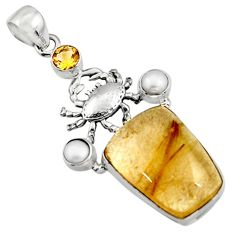 925 silver 22.32cts natural golden tourmaline rutile citrine crab pendant r5136