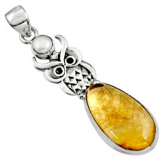 13.34cts natural golden tourmaline rutile pearl 925 silver owl pendant r5137
