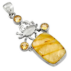 18.05cts natural golden tourmaline rutile citrine 925 silver crab pendant r5138