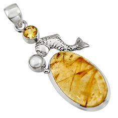 17.81cts natural golden tourmaline rutile citrine 925 silver fish pendant r5139