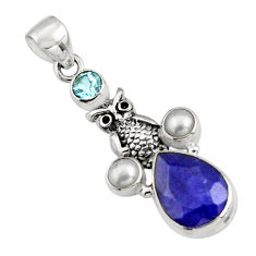 7.84cts natural blue sapphire topaz 925 sterling silver owl pendant r5141