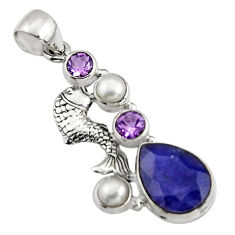 925 sterling silver 10.53cts natural blue sapphire amethyst fish pendant r5144