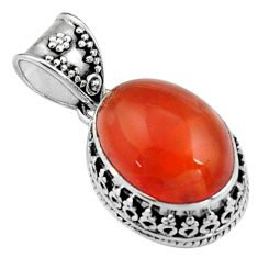 10.89cts natural orange cornelian (carnelian) 925 sterling silver pendant r5154