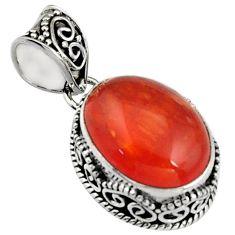10.53cts natural orange cornelian (carnelian) 925 sterling silver pendant r5159