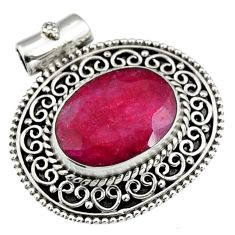 925 sterling silver 9.73cts natural red ruby oval pendant jewelry r5184