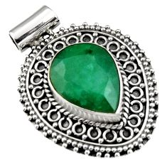 9.65cts natural green emerald 925 sterling silver pendant jewelry r5197