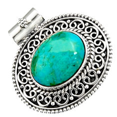 9.64cts green arizona mohave turquoise 925 sterling silver pendant jewelry r5227