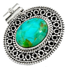 925 sterling silver 11.22cts green arizona mohave turquoise oval pendant r5228