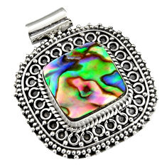 11.97cts natural green abalone paua seashell 925 sterling silver pendant r5240