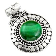 11.25cts natural green malachite (pilot's stone) round 925 silver pendant r5241