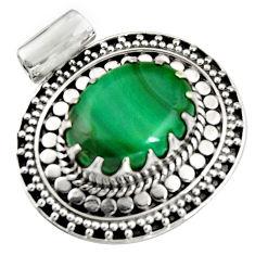 11.97cts natural green malachite (pilot's stone) 925 silver pendant r5242