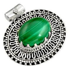 11.11cts natural green malachite (pilot's stone) 925 silver pendant r5243