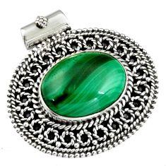 11.83cts natural green malachite (pilot's stone) 925 silver pendant r5245