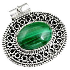 10.18cts natural green malachite (pilot's stone) 925 silver pendant r5246