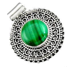 10.37cts natural green malachite (pilot's stone) 925 silver pendant r5249