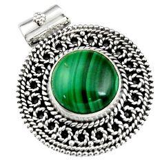 11.62cts natural green malachite (pilot's stone) 925 silver pendant r5250