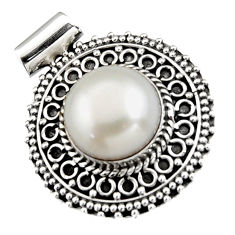 925 sterling silver 6.96cts natural white pearl round pendant jewelry r5258