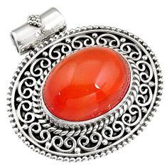 10.89cts natural orange cornelian (carnelian) 925 sterling silver pendant r5267