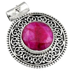 925 sterling silver 8.76cts natural red ruby round pendant jewelry r5276