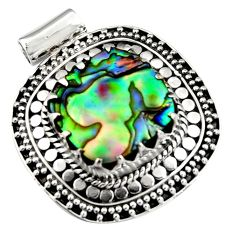 13.55cts natural green abalone paua seashell 925 sterling silver pendant r5278
