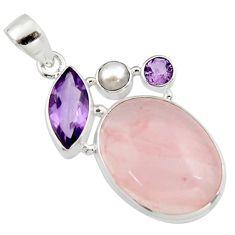 21.20cts natural pink rose quartz amethyst 925 sterling silver pendant r5291