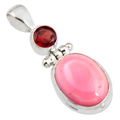 925 sterling silver 11.52cts natural pink queen conch shell garnet pendant r5384