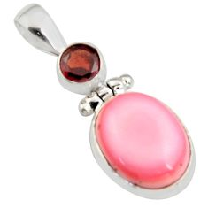 925 sterling silver 11.56cts natural pink queen conch shell garnet pendant r5392