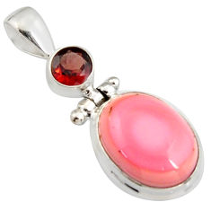 11.46cts natural pink queen conch shell garnet 925 sterling silver pendant r5395