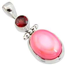 11.75cts natural pink queen conch shell garnet 925 sterling silver pendant r5397