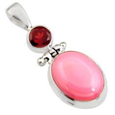 925 silver 11.38cts natural pink queen conch shell oval red garnet pendant r5398