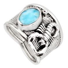 2.76cts natural blue larimar 925 silver scorpion charm ring size 7 r1261