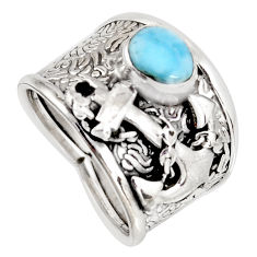 2.11cts natural blue larimar 925 silver anchor charm ring size 7.5 r1262
