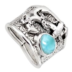 2.06cts natural blue larimar 925 silver anchor charm ring jewelry size 7 r1263