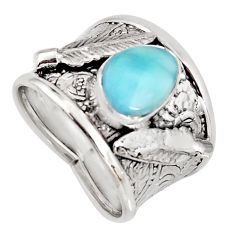 3.01cts natural blue larimar 925 sterling silver feather ring size 7 r1264