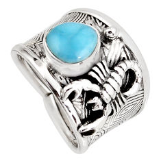 2.76cts natural blue larimar 925 silver scorpion charm ring size 6.5 r1267