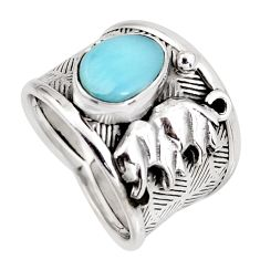 2.67cts natural blue larimar 925 sterling silver elephant ring size 7 r1268