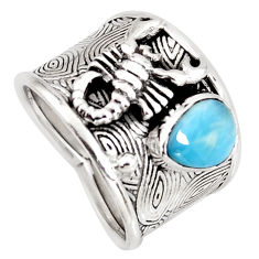 1.67cts natural blue larimar 925 silver scorpion charm ring size 8 r1270
