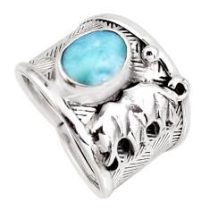 2.59cts natural blue larimar 925 sterling silver elephant ring size 6.5 r1271