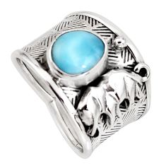 2.68cts natural blue larimar 925 sterling silver elephant ring size 8 r1272