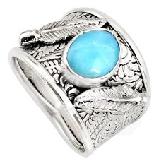 925 sterling silver 2.41cts natural blue larimar feather ring size 8 r1275