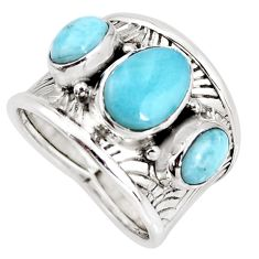 5.42cts natural blue larimar 925 sterling silver ring jewelry size 7.5 r1276