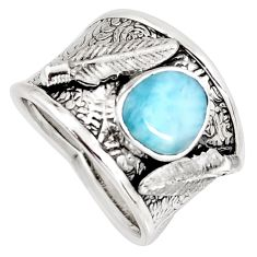 925 sterling silver 2.71cts natural blue larimar feather ring size 7.5 r1279