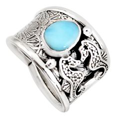 2.18cts natural blue larimar 925 sterling silver seahorse ring size 8 r1282