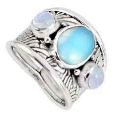 6.20cts natural blue larimar moonstone 925 sterling silver ring size 6.5 r1283